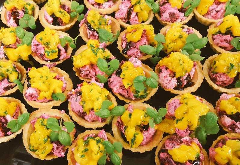 Beetroot, goats cheese and mango tartlet