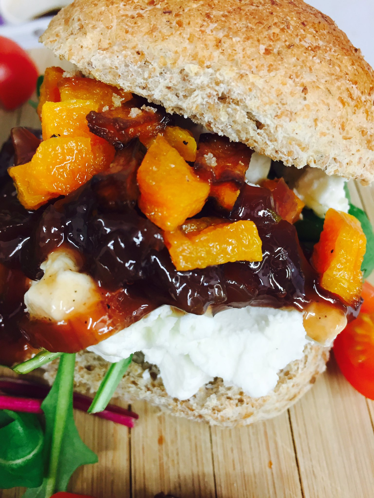 Goats cheese, caramelised onion chutney & butternut squash