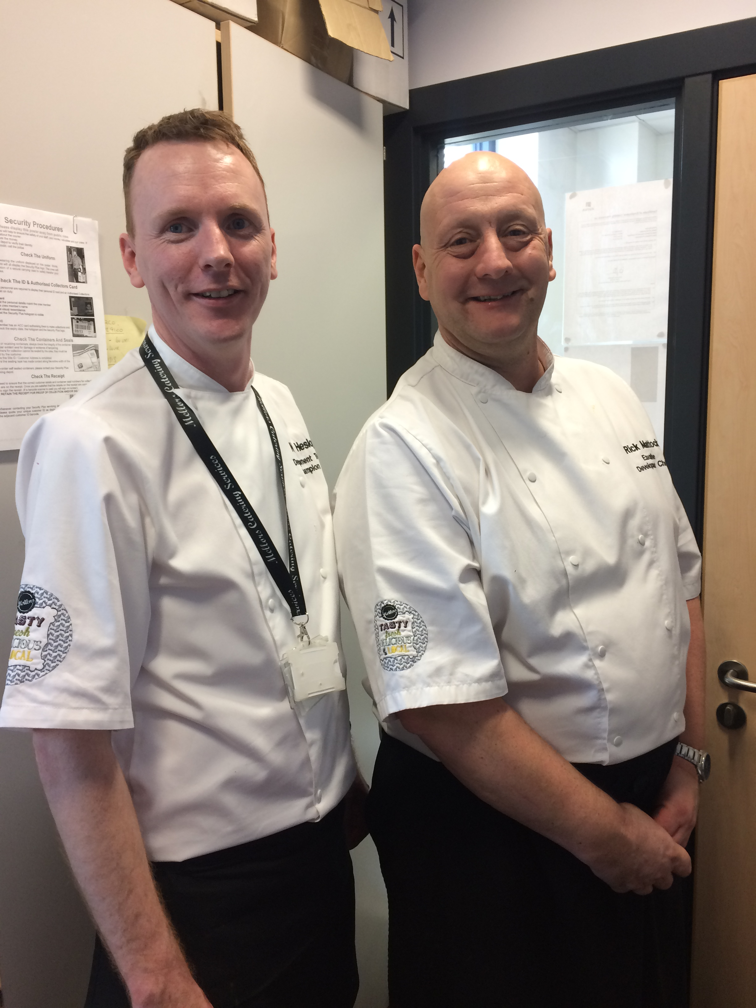 Neil and Richard looking slightly frazelled after a successful college presentation at North Durham Academy