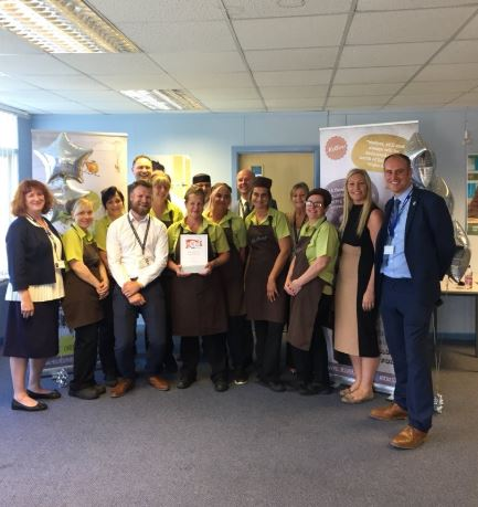 Our team celebrating our new Food For Life Accreditation at Dinnington High School
